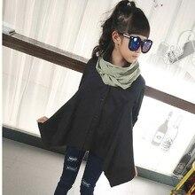Détail Enfants Filles Blouse Chemise à manches longues pour les Filles 2016 Automne Printemps Adolescente Filles Manteaux et Vestes Long Top noir Vert