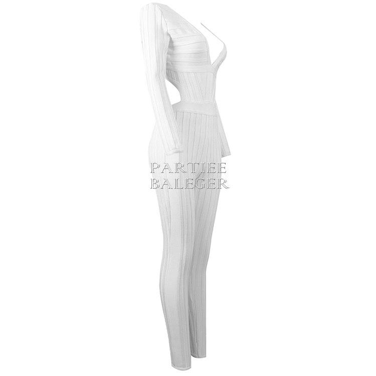 2019 Longues Salopette Col Celebrity Soirée Élégant En V Blanc Sexy Cut D'été Manches Taille Out Arrivée Nouvelle Bandage Profond Dos Nu nwN0XO8Pk