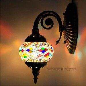 Image 5 - חדש הים התיכון סגנון אמנות דקו תורכי פסיפס מנורת קיר בעבודת יד פסיפס זכוכית רומנטי קיר אור
