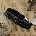 Atacado moda de nova jóias finas venda quente dos homens Pulseira de Couro Preto clássico acessórios pulseiras punk masculino boutique LPH904
