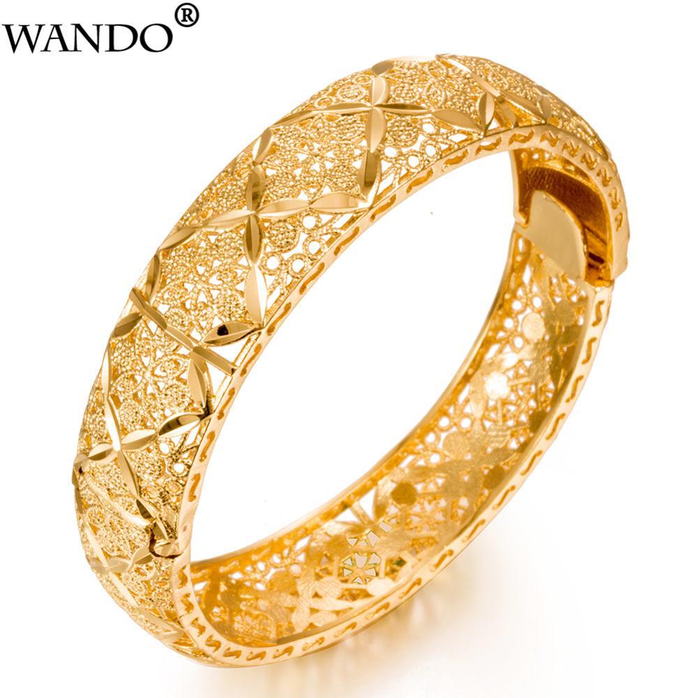 WANDO Luxury 24k Gold Color Ethiopian Jewelry Bangles For Women Dubai Ramadan Bangles&Bracelet African/Arab Weeding Jewelry Gift