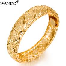 WANDO Luxury 24k Gold Color Ethiopian Jewelry Bangles For Women Dubai Ramadan Bangles&Bracelet African/Arab Weeding jewelry Gift(China)