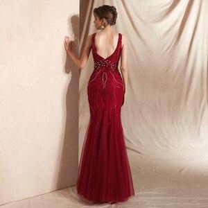 Image 2 - Şarap kırmızı balo kıyafetleri lüks boncuk şampanya Mermaid kolsuz dantel V boyun Backless uzun kat uzunluk zarif abiye giyim
