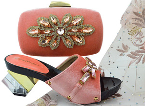 Image 1 - New Arrival Peach Color African Women Matching Italian Shoes and Bag Set Decorated with Rhinestone Italian Ladies Shoes QSL006