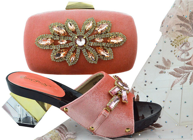 New Arrival Peach Color African Women Matching Italian Shoes and Bag Set Decorated with Rhinestone Italian Ladies Shoes QSL006