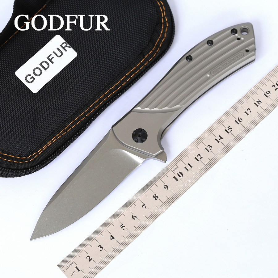 GODFUR ZT 0801 Ball Bearing Tactical Folding Knife D2 Blade Titanium Handle Camping Hunting Survival Knives Outdoor EDC Tools Углеродное волокно