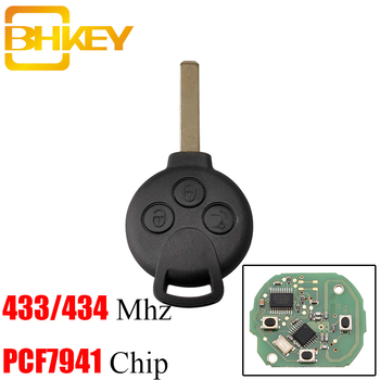 BHKEY 3Buttons 433Mhz Remote Car key Fob For MERCEDES BENZ MB Smart 451 2007-2013 ID46 PCF7941 Tranponder Chip
