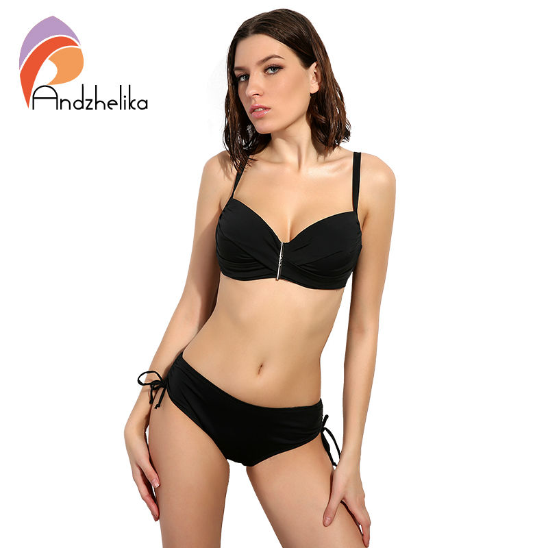 Andzhelika 2017 New Sexy Bikinis Women Swimwear Solid Retro Female Bikini Set Beachwear Bathing Suits Biquini Plus Size Swimwear new sexy halter top bikinis women swimwear push up retro female swimsuit bikini set beachwear bathing suits biquini for girls