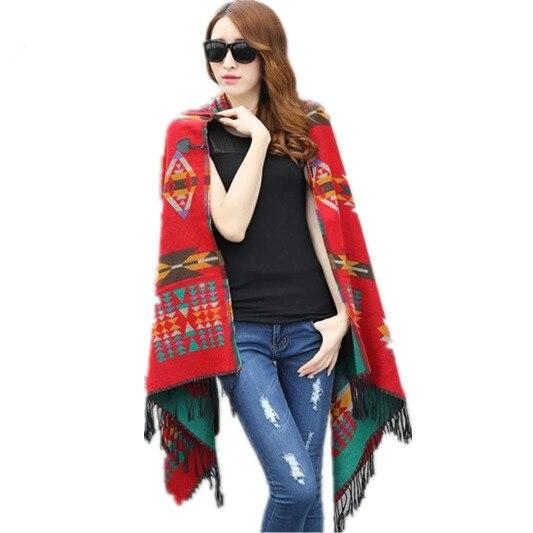 Fringe Ethnic Geometric Cardigan Svetry Zimní Oblečení s kapucí Vlna Směs Etnický styl tisku Deka Pláště Dámské Poncho Cape