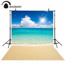 Allenjoy backdrop for photographic studio beautiful sandy beach tropical sea blue sky white clouds background summer photocall allenjoy scenery photo backdrop wood board blue calm sea water scape clouds photocall background for photographic studio