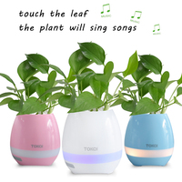 Smart LED Bluetooth Music Vase Speaker Real Plant Touch Sensing Flower Pot USB Charge Indoor Plant
