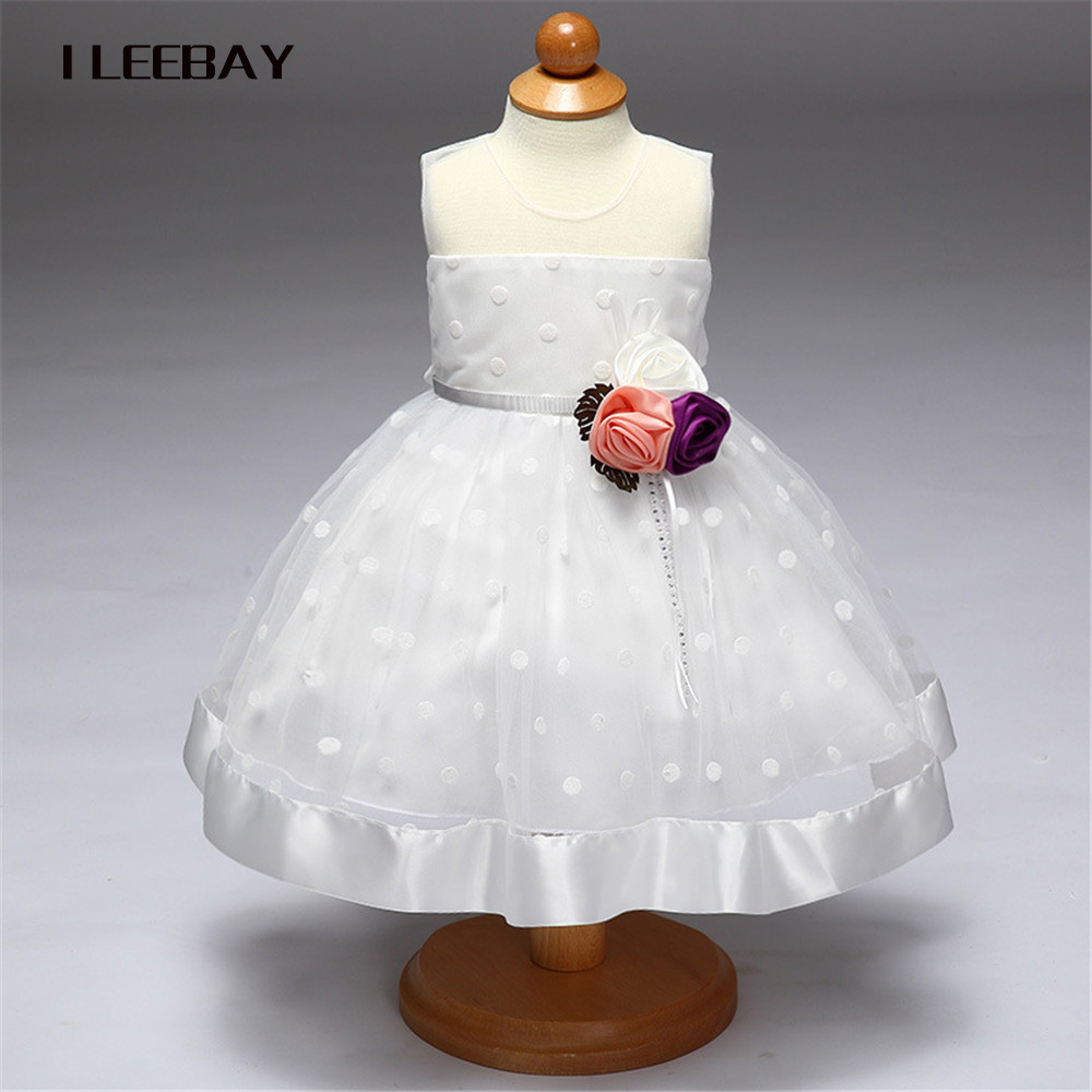 Flower Girls Dresses for Party and Wedding Little Baby 1 Year Birthday Baptism Dress Kids Floral Lace Vestido Infant Bow Clothes 2017 kids clothes flower girl party dress baby birthday baptism lace tutu dresses for girls infant christening gown vestido 2 9y