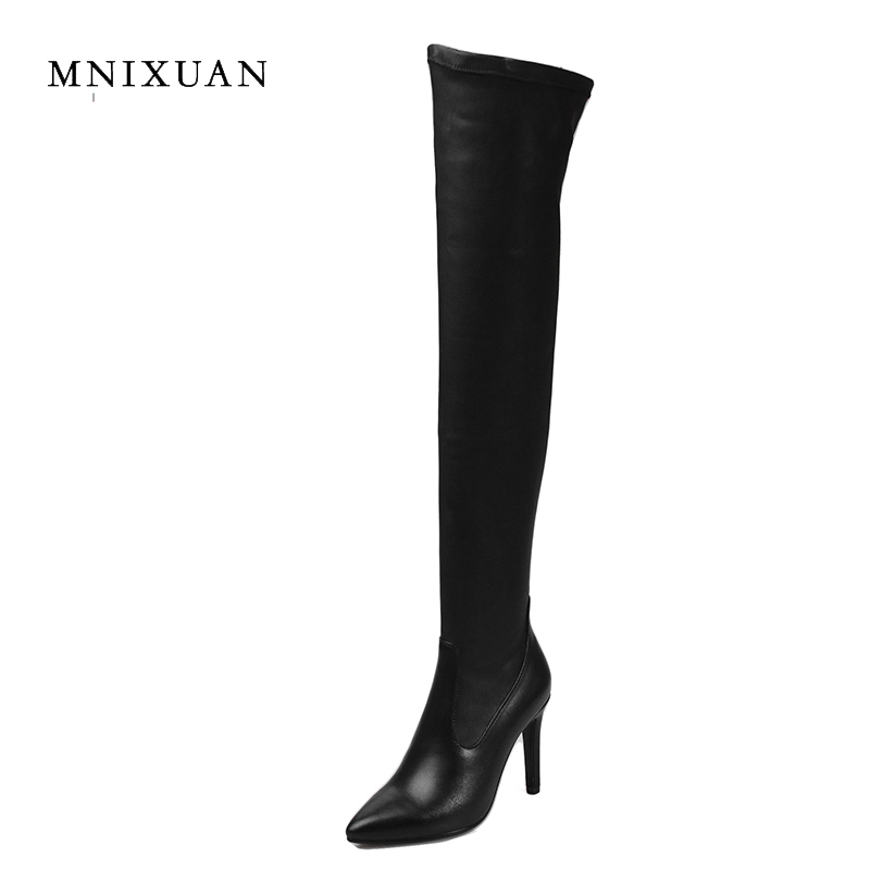 Handmade high quality boots over the knee women 2017 winter new genuine leather pointed toe sexy thin high heels big plus size42 new arrival high quality over the knee women boots sexy pointed toe shoes stiletto high heels blue denim jeans women boots