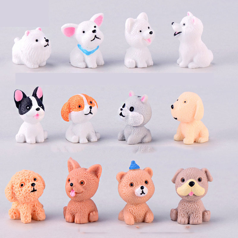 12 Style Mini Cute Dog Fairy Garden Figurines Miniature Cake Decor Resin Crafts Ornament Gnomes Moss Terrariums Decoration