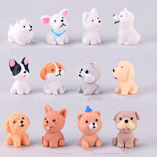 12 Style Mini Cute Dog Fairy Garden Figurines Miniature Cake Decor Resin Crafts Ornament Gnomes Moss Terrariums Decoration(China)