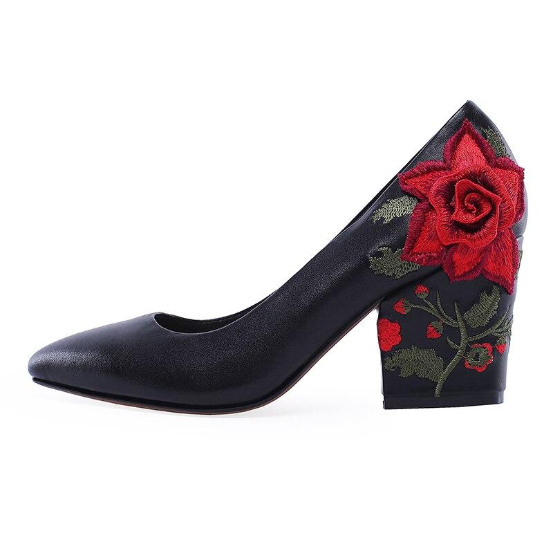 Pumpen Frauen Weiblichen Echtem Neue High Leder Sticken Ethnische Pumps Schwarzes Frühjahr 2019 Schuhe Flachen Frau Heels Wetkiss Pw1xWERtq6