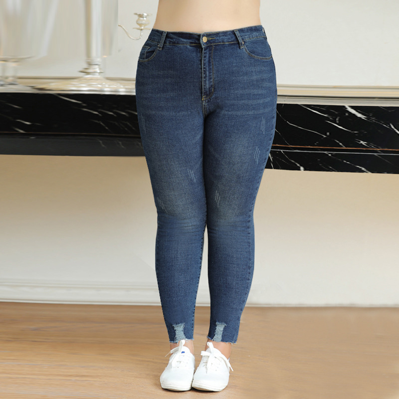 Plus Size 9XL 8XL 7XL-3XL Women Pants 2018 Femininas Vintage High Waist Stretch   Jeans   For Woman Blue Denim Pencil Trousers