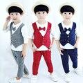 18m-4TBoys cavalheiro bebe crianças Roupas Definir Crianças camisa de Manga Comprida + Calças Outono moda Infantil Roupas Ternos terno Do Natal