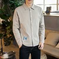 MR DONOO Men's Long Sleeve Embroidered Shirt Autumn Trend Vintage Chinese Wind Top Loose Large Size Ethnic Shirt 8830