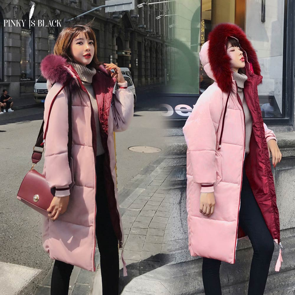 PinkyIsBlack Winter Jacket Women Thick Warm Long   Parkas   Women Down Jacket Coat Cotton Padded Fur Hooded Woman Winter Coat Female