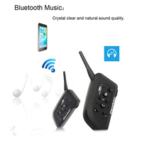 2pcs Excelvan V6 Motorcycle Helmet Headset Intercom Bluetooth 6 Riders 1200M Wireless Intercomunicador Motorbike BT Interphone