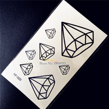 Black Crystal Temporary Tattoo Diamonds GEM Waterproof Fake Tattoo Stickers 10.5x6CM Child Tattoo Decals Women Makeup Tips