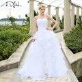 На Складе Свадебное Платье 2017 vestidos де noiva-Line Кот/Белый Оборками Бисером Милая Органзы Плюс Размер Корсет Свадебные платья