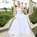 In Stock Wedding Dress 2017 vestidos de noiva A-line Ivory/White Ruffles Beaded Sweetheart Organza Plus Size Corset Bridal Gowns