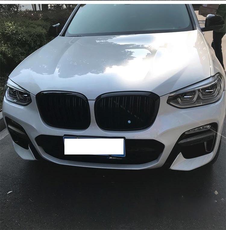 Grille de rein avant à double lamelles pour BMW X3 G01 X4 G02 Grille de course de pare-chocs X3 X4 xawai20i xDrive30i ABS noir brillant 2018 + - 3