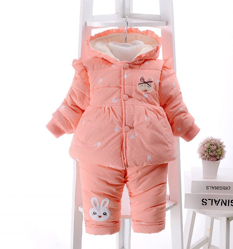 New  Baby Girl Outfit Winter THICKNESS TWO PIECES Print coat and pants Clothes Clothing