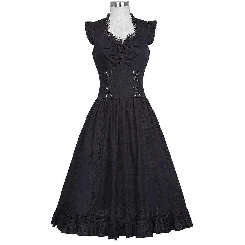 Belle Poque Sleeveless V-Neck 50s Retro Gothic Victorian Women Dress Vintage Ruffles Silver Corset Adjustable Hemline Mid Robe 2