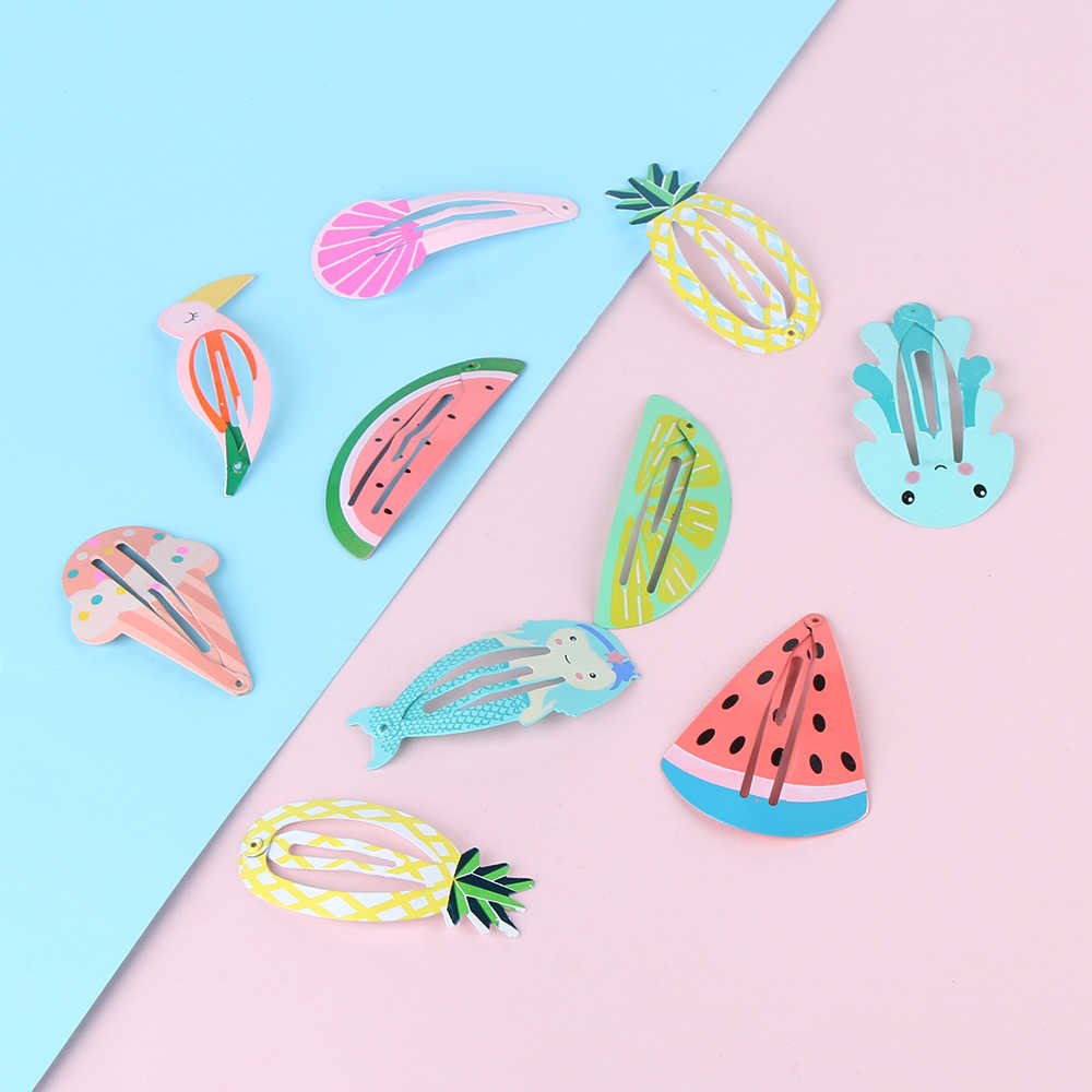 1Pair Summer Cute Ice Cream/Fruit/Mermaid Girl Baby Kid Hairpins Children Slides Snap Clips Barrettes Hair Styling Accessories