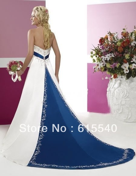 Retro Style Silver Embroidery Satin White And Royal Blue Wedding Dresses Free Shipping A Line Sweetheart Wholesale Gowns In From