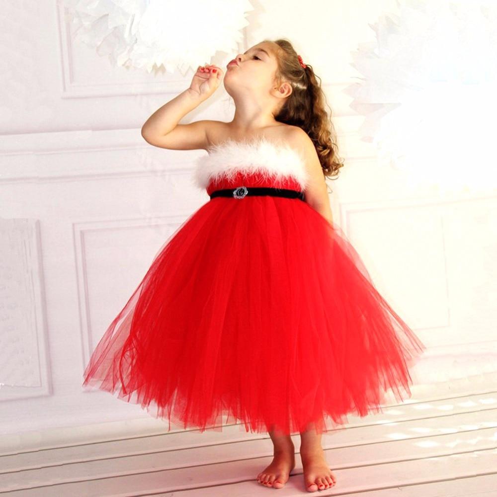 New Girls Christmas Dress Kids Santa Xmas Puff Ball Gown