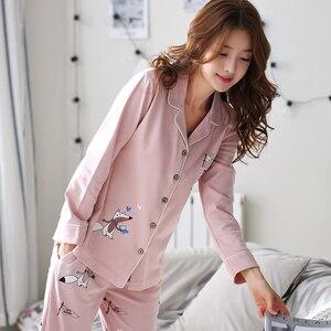 Image 4 - Женская Хлопковая пижама с длинным рукавом BZEL, розовая пижама с рисунком лисы, домашняя одежда для отдыха, M 3XL