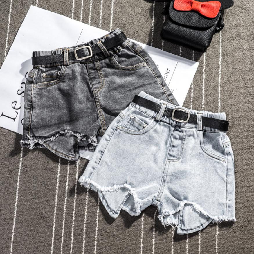 Baby Girl Denim Shorts 2019 Summer New Children Infant Holes Jean Pants High Waist Casual Loose Kids Teens Shorts Y870 With Belt