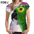 FORUDESIGNS 3D T shirt Women Brand Clothes T-shirt Parrot Printing Casual Women 2017 Summer Crop Top Tee Breathable Short Sleeve