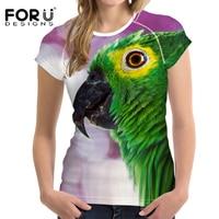 FORUDESIGNS 3D T Shirt Women Brand Clothes T Shirt Parrot Printing Casual Women 2017 Summer Crop