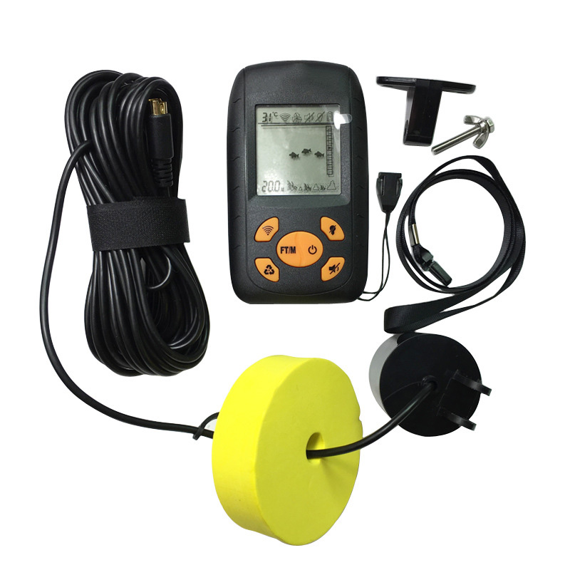 1pc Portable Sonar Alarm Fish Finder Echo Sounder 0.7-100M Transducer Sensor Depth Finder with Russian manual #B3 Factory Price