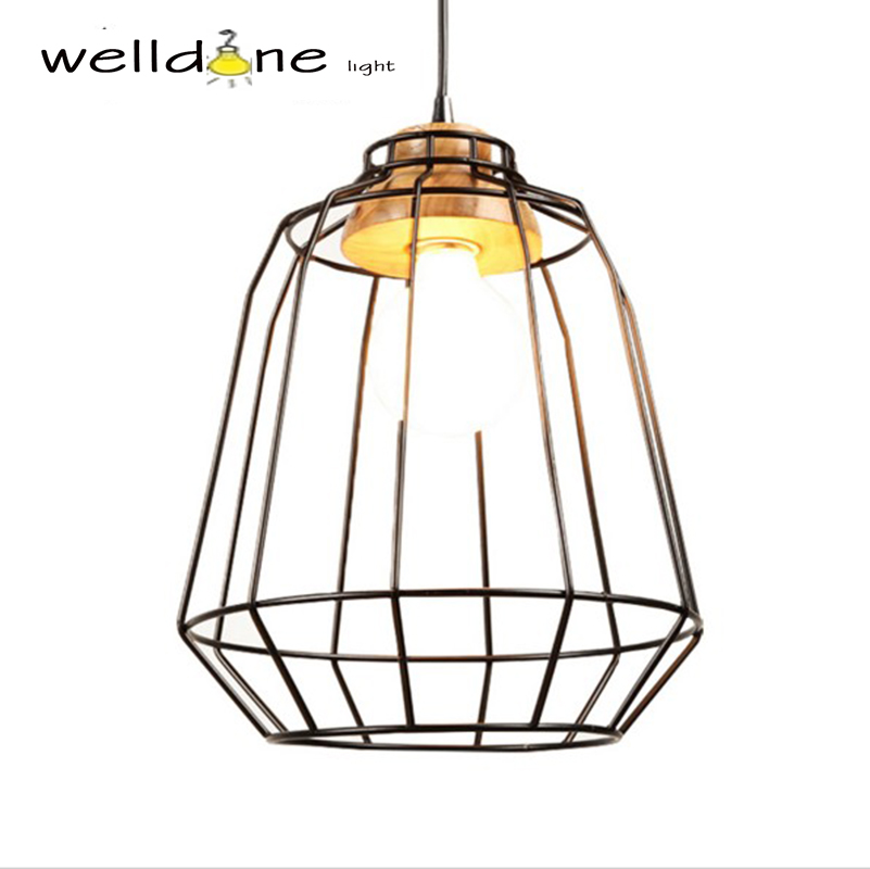 cage lampshade dining room hanging Retro style personality wood iron cage cafe restaurant bar cage pendant lamp loft style vintage pendant lamp iron industrial retro pendant lamps restaurant bar counter hanging chandeliers cafe room