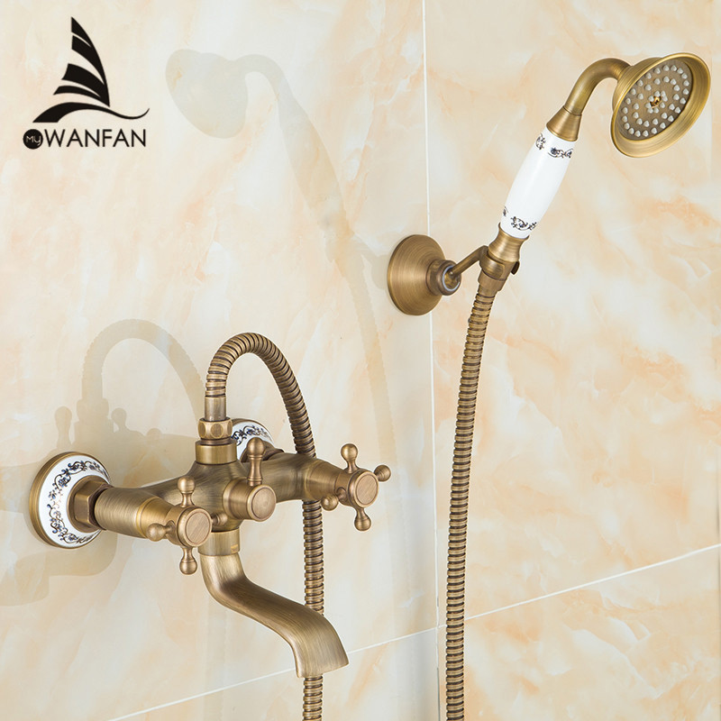 Shower Faucets Antique Brass Bathroom Faucet Rainfall Shower Head Round Handheld Wall Mounted Bath Tub Mixer