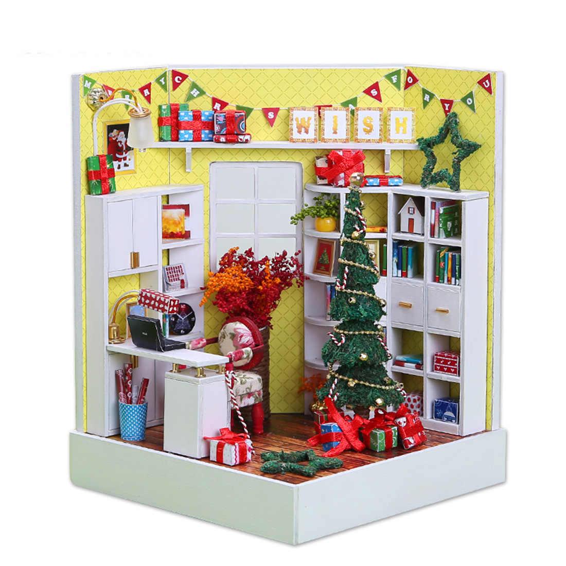 DIY Creative Handmade Theme บ้านไม้ห้องโดยสารอาคารชุดของเล่นวันเกิดคริสต์มาสของขวัญ - Merry Christmas