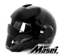 2016 NEW Full Bright Black MASEI Motorcycle Helmet IRONMAN Iron Man Helmet Half Helmet Open Face