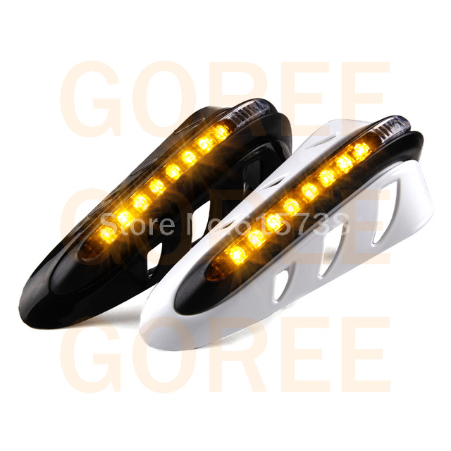 WHITE 7 8 22mm ATV accessories handguard motorcycle hand guard with led turn light for scooter