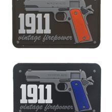 1911 Винтаж огневой мощи 3D ПВХ патч Военный Боевая нашивка пистолет резиновые Байкерский крючок обратно патчи для Костюмы колпаки для рюкзака