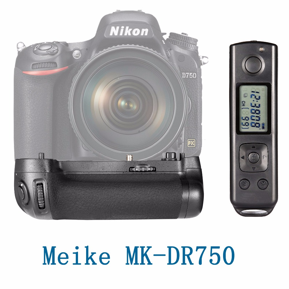 Meike MK-DR750 Built-in 2.4g Wireless Control Battery Grip for Nikon D750 AS MB-D16 meike mk dr750 vertical battery grip pack holder for nikon d750 rechargeable li ion battery for nikon en el15 cleaning kit