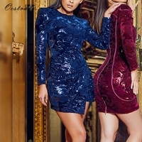 Ocstrade New Years Sexy Dress Women Vestidos 2017 Party Dresses Long Sleeve Blue Embellished Velvet Sequin