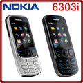Original unlock NOKIA 6303i mobile phone black and silver color for you choose have russian or arabic keyborad free shipping