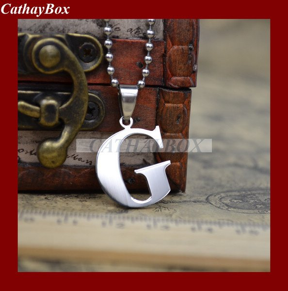 High Polished Latin English Alphabet Initial Letter G Charm Pendant  Necklace Free Chain 60CM Long|necklac|chain link heart necklacechain  sticker - AliExpress