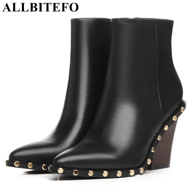 ALLBITEFO fashion brand genuine leather pointed toe wedges heel platform women boots rivets high heels martin boots ankle boots brand rivets patchwork ankle boots hidden wedges platform martin boots high heels pointed toe spring autumn boots zapatos mujer